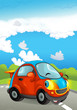 Cartoon sports car smiling and looking on the road with lights turned on - illustration for children