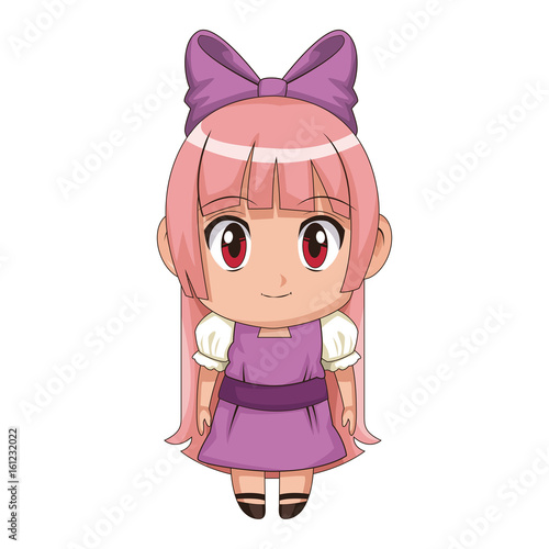 cute anime chibi little girl cartoon style - 161232022