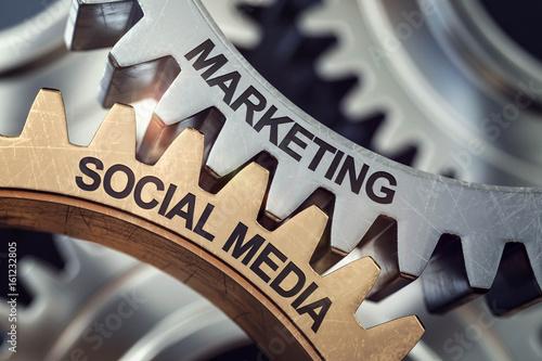 3d Zahnräder Social Media Marketing