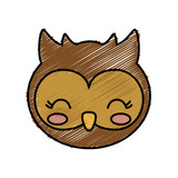 kawaii owl animal icon over white background vector illustration