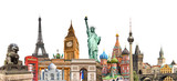 World landmarks photo collage isolated on white background, travel, tourism and study around the world concept - 161254485
