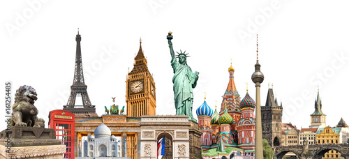 Foto Murales World landmarks photo collage isolated on white background, travel, tourism and study around the world concept