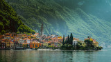 Town of Varenna town at Lake como,Italy. scenic landscapes of Lago di Como - Cadenabbia, Italy - 161256639