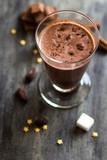 Chocolate milk on a table.