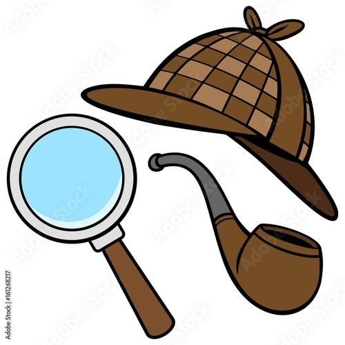 Detective Hat, Pipe, a...