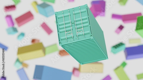 Floating Vibrantly Colored Shipping Container Against a background of similarly brightly colored Shipping Containers