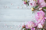 Pink peonies on a wooden background - 161306658