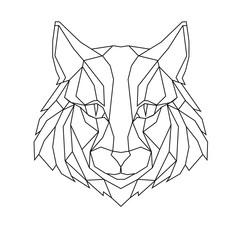 Cat stylized triangle polygonal model