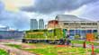 Old diesel locomotive in Roundhouse Park, Toronto