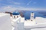 White and blue church Imerovigli Santorini Greece  - 161358401