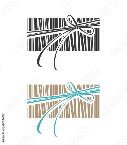 Gift wrapping bands banded with bow. Vector template.