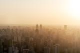 Shanghai city skyline in sunset