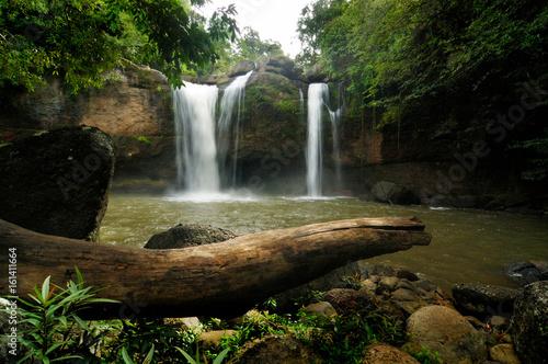 Haew Suwat Waterfall is beautiful in Khao Yai National Park Thailand. - 161411664