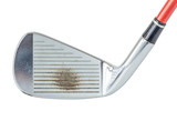 Close up the old metal golf club on white background, golf sport concept.