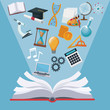 color background open book with light halo icons academic knowledge vector illustration