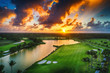 Aerial view of tropical golf course at sunset, Dominican Republic.