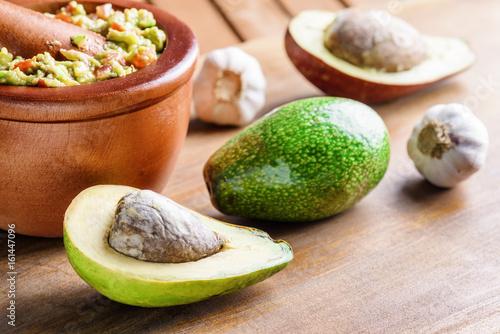 Closeup view of avocados and fresh homemade Guacamole