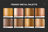Fototapety Gold gradient template. Collection palette of gold metallic gradient swatches with gloss for backgrounds, textures. Set of realistic gold metallic palettes, vector icons. Vector Illustration