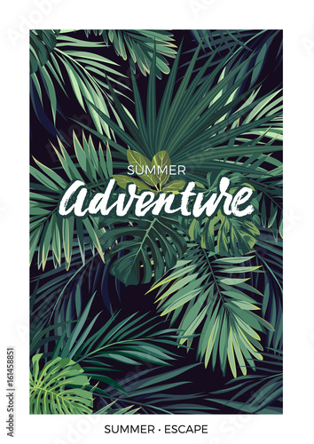 Dark vector tropical design with green jungle palm leaves and lettering. - 161458851