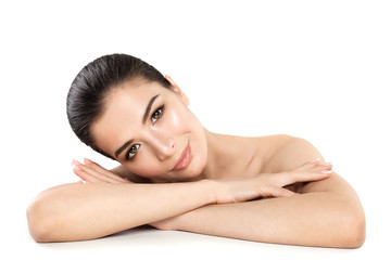 Pretty Young Woman Spa Model. Smiling Woman Relaxing on White Background. Skin Care, Spa treatment and Cosmetology Concept © millaf