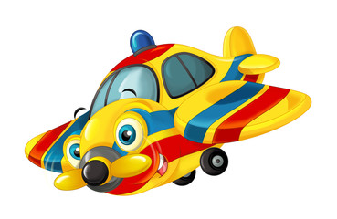 cartoon happy traditional ambulance or rescue plane with propeller - smiling and flying
