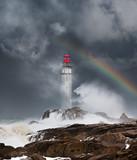 phare tempête déchaîner mer bretagne orage matin finistère arc en ciel ciel orageux côte rocher vague nuage - 161489809