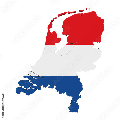Fotobehang Rotterdam Map of Netherlands Isolated