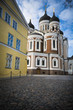 Tallinn orthodox cathedral by cobblestones in medieval old town