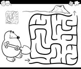 maze with mole coloring page