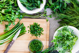 Background with Herbs, Chopped Scallion, Dill, Mint Leaves, Parsley on the Dark Background - 161532823