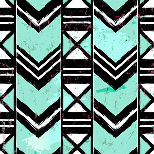 seamless abstract geometric background pattern, with strokes and splashes, grungy