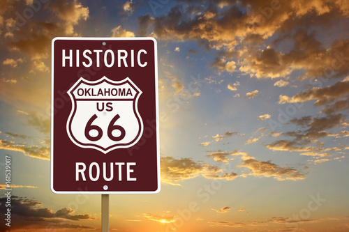 Fotobehang Route 66 Historic Oklahoma Route 66 Brown Sign with Sunset
