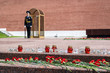 MOSCOW, RUSSIA - JUNE 20, 2017: Carnation flowers and candles at The Unknown Soldier Memorial in the Alexander Garden by Kremlin wall.