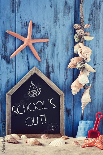 beach toys, seashells, starfishes and text school holidays - 161552266