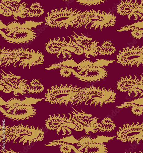 Seamless pattern with dragons. Vector