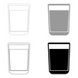 Glass with fluid   the black and grey color set icon .