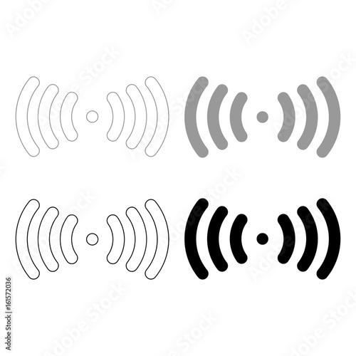 Radio signal   the black and grey color set icon .