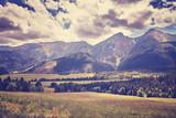 Retro old film stylized photo of High Tatra Mountains, Slovakia.