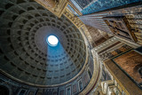 Interior of Rome Pantheon with the famous ray of light - 161597476