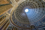 Interior of Rome Pantheon with the famous ray of light - 161597491