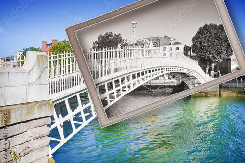 "The most famous bridge in Dublin called ""Half penny bridge"" - Vintage postcard c Poster"