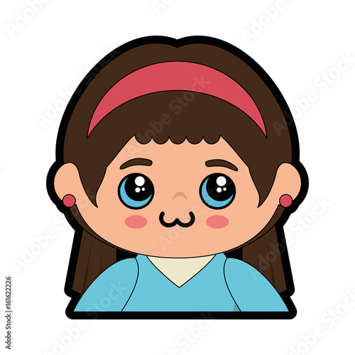 cartoon japanese girl icon over white background colorful design vector illustration - 161622226