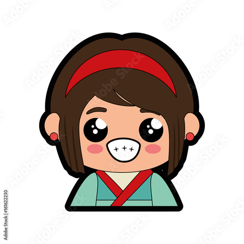cartoon japanese girl icon over white background colorful design vector illustration - 161622230
