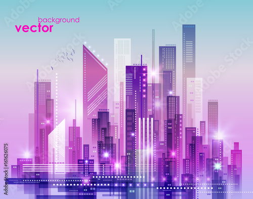Tuinposter Purper Night city skyline, vector illustration