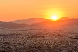 Sunset view of Athens from lykavittos hill, Athens, Greece