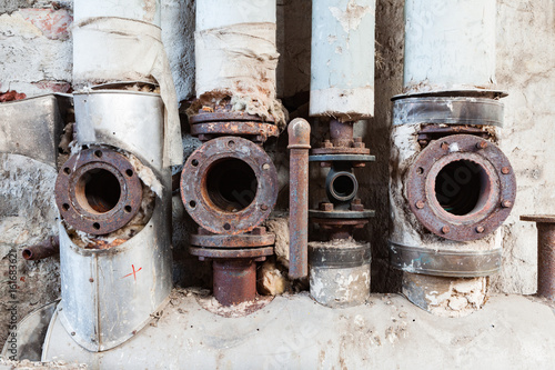 Pipes in abandoned factory