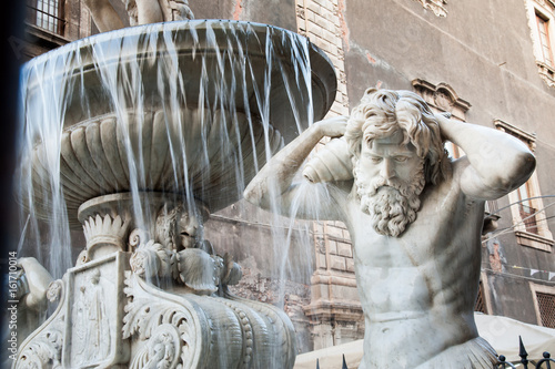 Foto op Canvas Milan Landmarks of Catania, Sicily: closeup view of the Amenano fountain by the main Dome Square