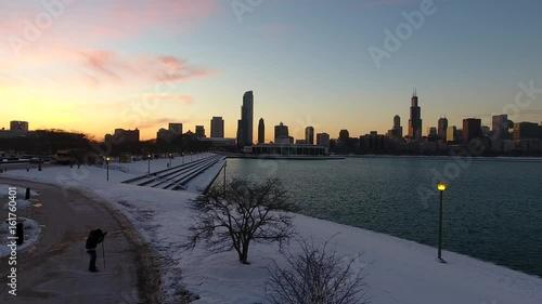 Poster Chicago chicago sunset skyline 4K