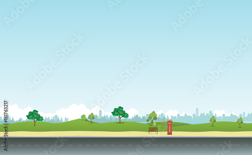 Aluminium Lichtblauw Street in public park with nature landscape and building background vector illustration.Main street scene vector.City street with sky background
