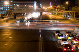 Traffic is a blur in downtown Beijing at night